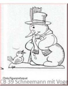Snowman with bird (unpainted)