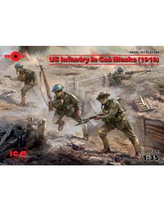 US Infanterie mit Gasmasken...